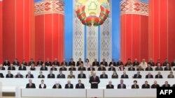 Аляксандар Лукашэнка выступае на 4-м Усебеларускім народным сходзе