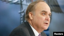 Russian Deputy Defense Minister Anatoly Antonov speaks to the media during a news conference in Moscow on March 5.