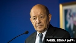 French Foreign Minister Jean-Yves Le Drian looks on during a press conference with his Moroccan counterpart in Rabat on October 9, 2017.