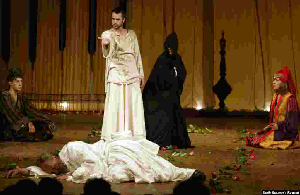 "A performance of ""Hamlet"" at the National Theatre in Sarajevo, Bosnia-Herzegovina. The director chose to depict Hamlet as a Muslim prince at the Ottoman court."