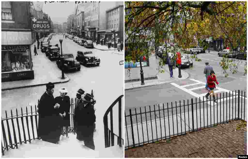 Left photo: A young John F. Kennedy (second from right) and his grandparents talk to a priest outside St. Stephen's Church in the North End neighborhood of Boston, Massachusetts, in June 1946. Right photo: the same spot outside St. Stephen's on November 10, 2013.