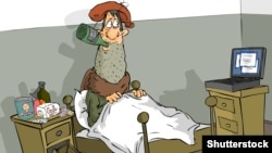 Näsag adamyň krowatda alkogolly içgi içýän pursatyny suratlandyrýan karikatura.