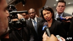 U.S. Secretary of State Condoleezza Rice speaks to reporters after the meeting.