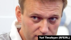 Russian blogger and activist Aleksei Navalny at RFE/RL's Moscow studio on May 12