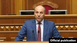 Ukrainian parliament speaker Andriy Parubiy called on lawmakers to support the proposed law. (file photo)
