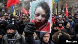 Украиналық журналист Татьяна Чорновилге шабуыл жасалуына қарсылық акциясы. Киев, 25 желтоқсан 2013 жыл.