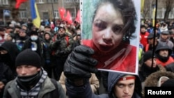 Протесты у здания МВД Киева после нападения на Татьяну Чорновил