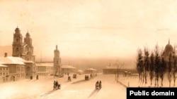 Менск 16 лютага 1840 г., пасьля паўстаньня 1831 г. і ліквідацыі Уніі. Б. Лявэрнь. Саборная плошча