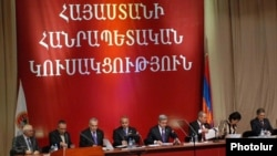 Armenia -- President Serzh Sarkisian (C) presides over a congress of his Republican Party of Armenia on November 26, 2009.