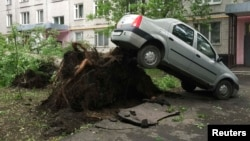 A car was lifted into the air by the roots of a large tree knocked down in the violent storm that shook Moscow on May 29.