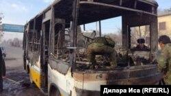 Сгоревший пассажирский автобус. Шымкент, 23 января 2018 года.