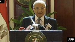 Then-Prime Minister Ahmed Shafiq during a press conference in Cairo in February 2011, as the popular protests were mounting to oust his boss, Hosni Mubarak.