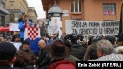 Prosvejd tijekom posjeta Aleksandra Vučića Zagrebu