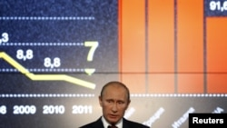 Vladimir Putin delivers a speech during an international investment forum in Sochi, Russia, in 2011.