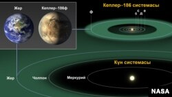 Жер жана Кеплер–186ф планеталары.