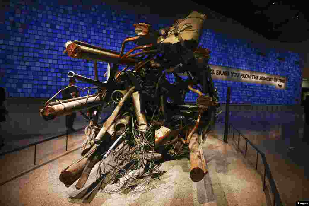 A destroyed antenna from the North Tower of the World Trade Center