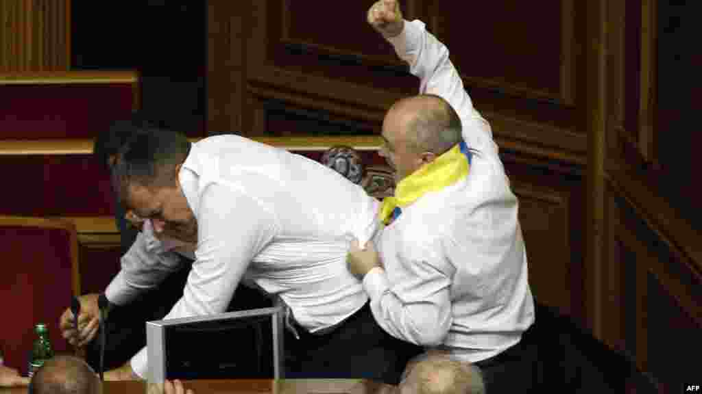 The December scuffles were only the most recent instances of brawls breaking up the legislative proceedings in Kyiv. The last such fracas took place on May 24.