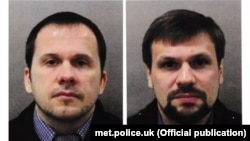 The Metropolitan Police named two suspects in connection with the Salisbury attack: Aleksandr Petrov (left) and Ruslan Boshirov.