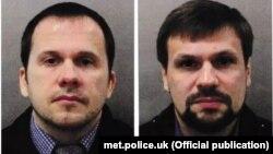 Ұлыбритания полициясы Сергей Скрипальге қастандық жасамақ болды деп жариялаған күдіктілер Александр Петров (сол жақта) пен Руслан Бошировтың суреті.