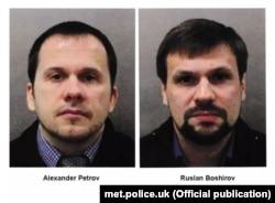 """Ұлыбритания полициясы жариялаған """"Руслан Боширов"""" пен """"Александр Петровтың"""" суреттері."""