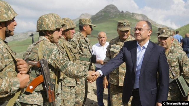 Armenia -- Defense Minister Seyran Ohanian inspects Armenian army positions on the border with Azerbaijan's Nakhichevan exclave, 19Jun2014
