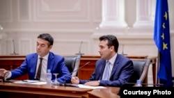 Премиерот Зоран Заев на прес-конференција во Влада по усвојување на текстот за договорот со Бугарија