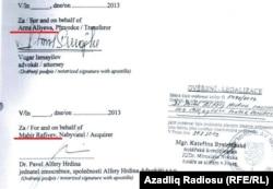 Arzu Əliyevanın öz şirkətini Mahir Rəfiyevə satmasına dair müqavilənin imzalar hissənin fotosu.