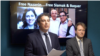 Babak Namazi, the brother of a prisoner in Iran Siamak Namazi, and Richard Ratcliffe, the husband of detained Nazanin Zaghari Ratcliffe, in a press conference in New York, on September 26, 2019.