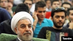 President Hassan Rouhani during a meeting in Azad University of Karaj, May 8, 2013.