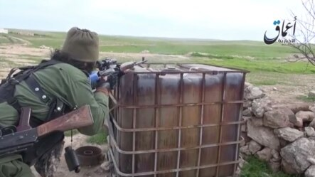 A video shared on social media showing Russian-speaking Islamic State militants apparently taking part in clashes in the countryside around the Syrian town of Kobani.