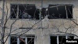 Разрушенное здание в Авдеевке, 3 февраля 2017 года.