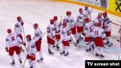 Канада хоккей құрамасы әлем чемпионаты ойыны кезінде. Ресей, мамыр 2016 жыл.