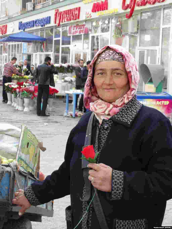 A market vendor in Dushanbe, Tajikistan
