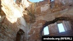 На сьценах галоўнага корпусу палаца Сапегаў растуць дрэвы