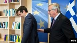 Алексіс Ципрас та Жан-Клод Юнкер під час зістрічі в Брюсселі, 24 червня, 2015 року