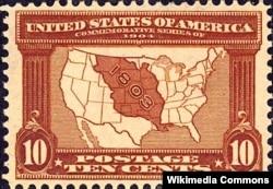 Американська марка на відзначення 100-ліття Луїзіанської угоди. На мапі – територія, яку придбали США у 1803 році