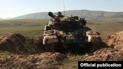 Nagorno-Karabakh - An Armenian tank used during military exercises, 8Nov2014.