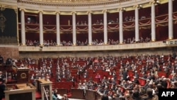 View during the final voting session by MPs on France's pension reform at the National Assembly in Paris