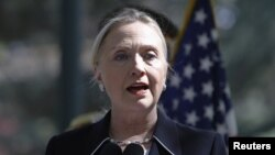 U.S. Secretary of State Hillary Clinton speaks during a surprise visit to Kabul on July 7.