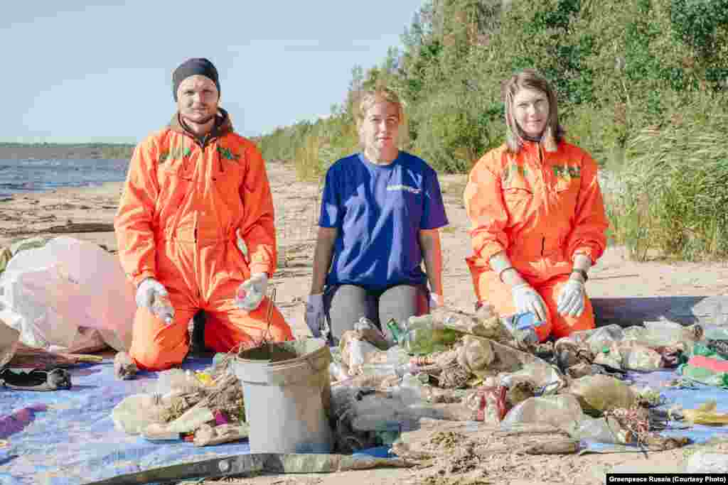 """Nesterov (left) says: """"Plastic is light, it migrates easily. What we find is just the tip of the iceberg. Part of the waste sinks, and the current won't bring it ashore."""""""