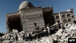 Разрушенная мечеть в городе Азаз