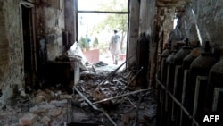 Afghanistan --The damaged interior of the hospital in which the Medecins Sans Frontieres (MSF) medical charity operated is seen following an air strike in the northern city of Kunduz, October 13, 2015