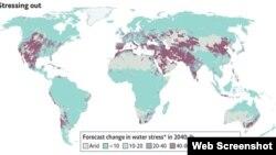 نقشه تنش آبی جهان. از اکونومیست