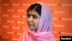 Malala Yousafzai is seen at a news conference convened by A World at School in New York on September 23.