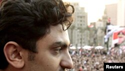 Wael Ghonim addresses the crowd on Tahrir Square on February 8.