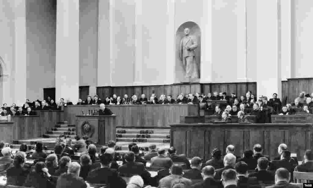 In February 1956, Khrushchev denounced Stalin at the 20th Congress of the Communist Party of the Soviet Union, sending shock waves through the party.