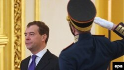 President Dmitry Medvedev enters meeting of State Council session on political reform on January 22.