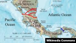 نمایی از طرح احتمالی برای ساخت کانال نیکاراگوئه که دو اقیانوس آرام و اطلس را به هم وصل میکند.