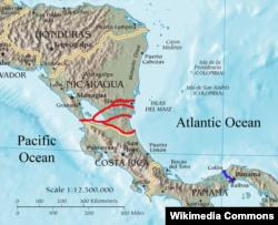 Варианты Никарагуанского канала. Окончательный маршрут – второй сверху, начинающийся на востоке к югу от города Блуфилдс