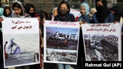 FILE: An anti-Taliban protests by women activists in the capital Kabul on March 2.
